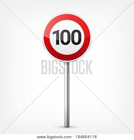 Road red signs collection isolated on white background. Road traffic control.Lane usage.Stop and yield. Regulatory signs. Curves and turns.Speed limit.