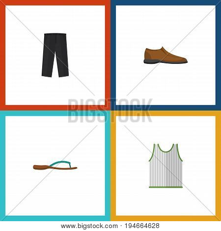 Flat Icon Garment Set Of Beach Sandal, Singlet, Pants Vector Objects. Also Includes Sandal, Trousers, Sleeveless Elements.