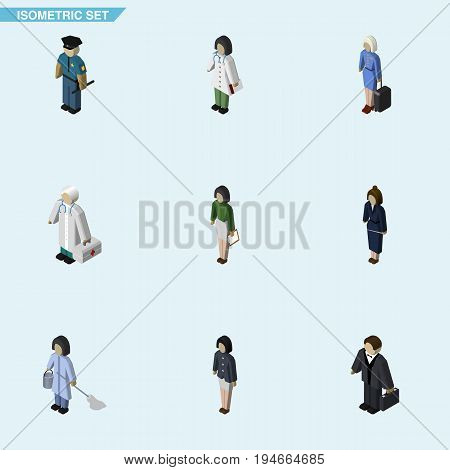 Isometric Person Set Of Investor, Businesswoman, Girl And Other Vector Objects. Also Includes Housekeeper, Pedagogue, Doctor Elements.