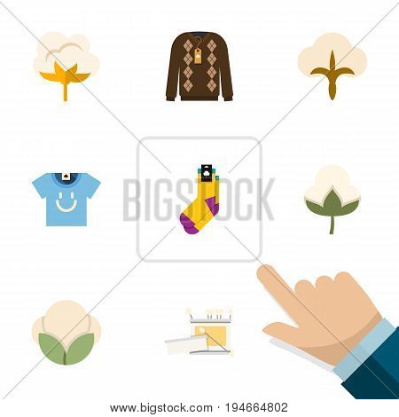 Flat Icon Cotton Set Of Pullover, Fluffy, Fiber And Other Vector Objects. Also Includes Cotton, Blouse, Fiber Elements.