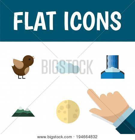 Flat Icon Ecology Set Of Bird, Lunar, Peak And Other Vector Objects. Also Includes Peak, Wing, Overcast Elements.