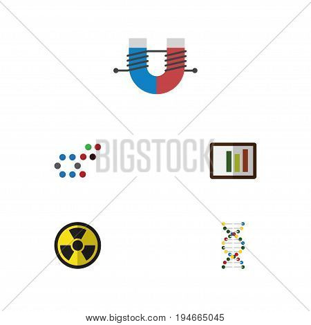 Flat Icon Knowledge Set Of Diagram, Genome, Attractive Force And Other Vector Objects. Also Includes Oxygen, Helix, Column Elements.