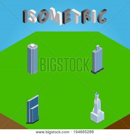 Isometric Skyscraper Set Of Cityscape, Residential, Skyscraper And Other Vector Objects. Also Includes Business, Apartment, Tower Elements.