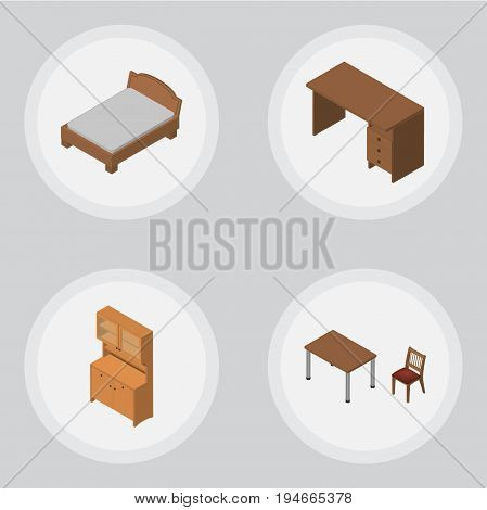 Isometric Furnishing Set Of Bedstead, Cupboard, Table And Other Vector Objects. Also Includes Bedstead, Chair, Desk Elements.