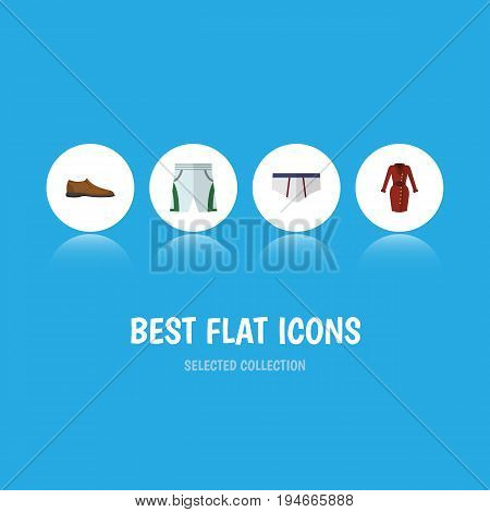 Flat Icon Garment Set Of Underclothes, Trunks Cloth, Clothes And Other Vector Objects. Also Includes Cloth, Briefs, Footware Elements.