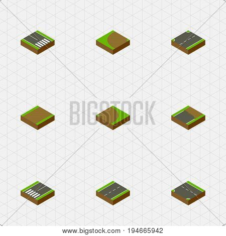Isometric Way Set Of Unfinished, Upwards, Downward And Other Vector Objects. Also Includes Highway, Upward, Strip Elements.
