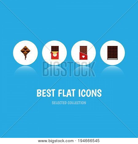 Flat Icon Chocolate Set Of Dessert, Chocolate Bar, Delicious And Other Vector Objects. Also Includes Wrapper, Dessert, Box Elements.