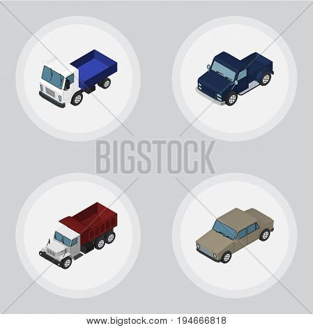 Isometric Automobile Set Of Lorry, Suv, Auto And Other Vector Objects. Also Includes Sedan, Lorry, Transport Elements.