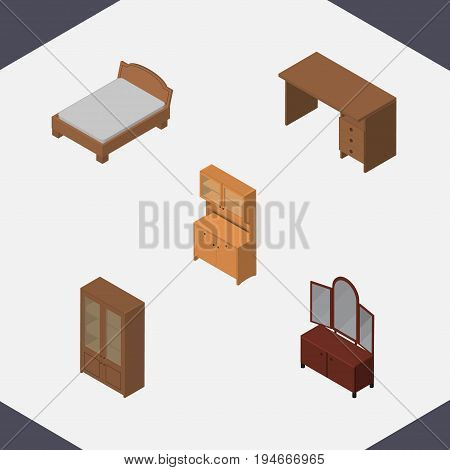 Isometric Design Set Of Table, Bedstead, Drawer And Other Vector Objects. Also Includes Table, Cabinet, Bed Elements.