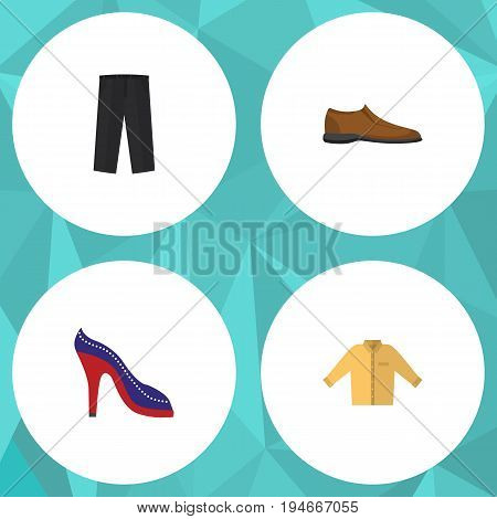 Flat Icon Clothes Set Of Banyan, Male Footware, Heeled Shoe And Other Vector Objects. Also Includes Shoes, Leggings, Banyan Elements.