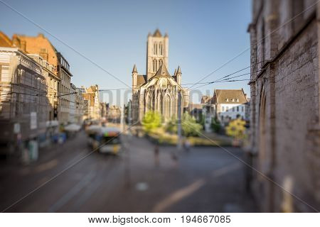 CItyscape view on the saint Nicholas church during the morning in Gent old town, Belgium. Tilt-shift image technic