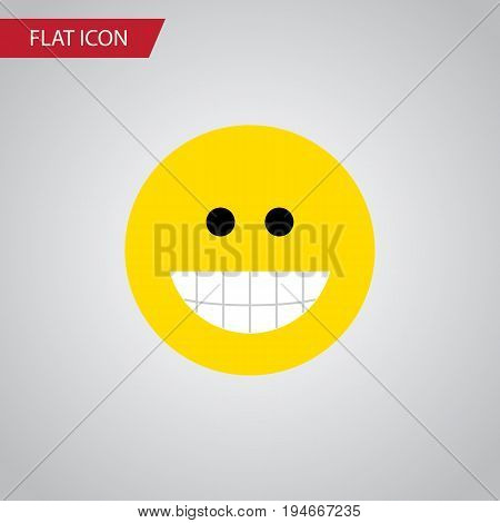 Isolated Laugh Flat Icon. Grin Vector Element Can Be Used For Laugh, Grin, Face Design Concept.