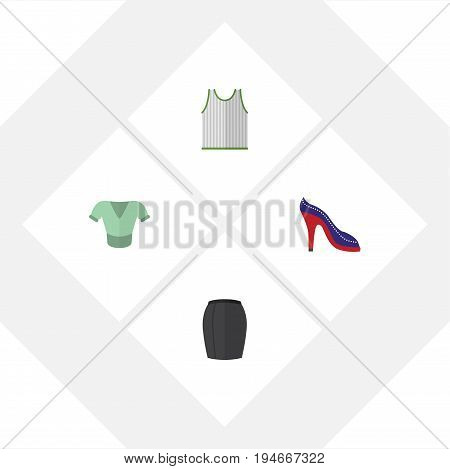 Flat Icon Clothes Set Of Stylish Apparel, Casual, Singlet And Other Vector Objects. Also Includes Sandal, Clothes, Sleeveless Elements.