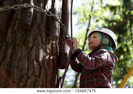 Boy Climbing In Adventure Park