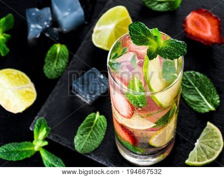 Lemonade With Strawberries, Lime And Mint