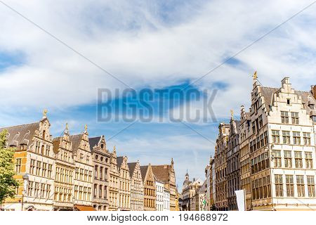 View on the beautiful buildings on the Grote Markt square in Antwerpen city in Belgium