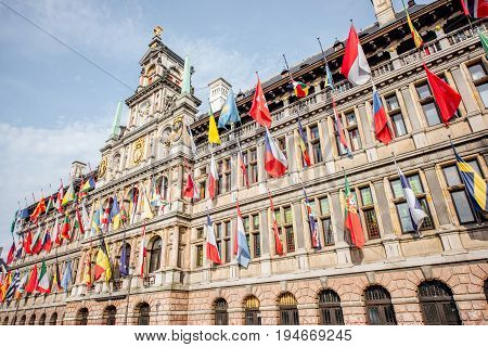 View on the city hall with flags on Grote Markt square in Antwerpen city, Belgium