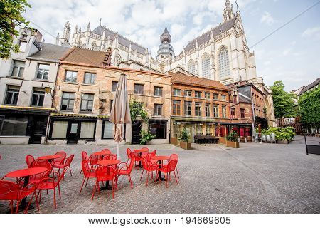 Street view with cafe terrace during the morning in Antwerpen city in Belgium