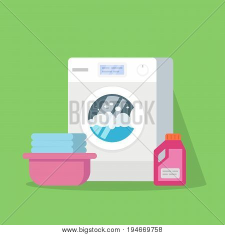 Washing machine with water and foam, a basin with clean linen, powder or conditioner for linen. Vector illustration of a high quality isolated on a green background