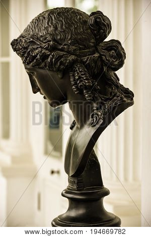 Ancient bronze woman's head. Ariadna mythological character. Beautiful antique sculpture with nice female face. Long hair, Greek hairstyle. Amazing stylish art for posters, prints, interior decor.