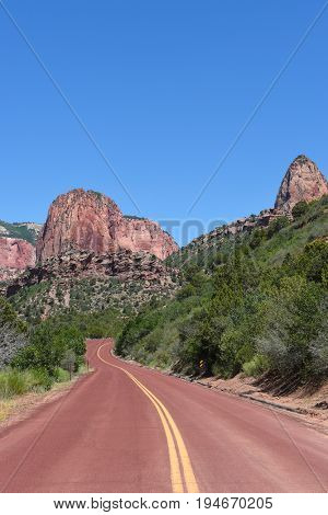 Kolob Canyons road in Zion National Park, in the northwest corner of the park, narrow parallel box canyons are cut into the western edge of the Colorado Plateau.