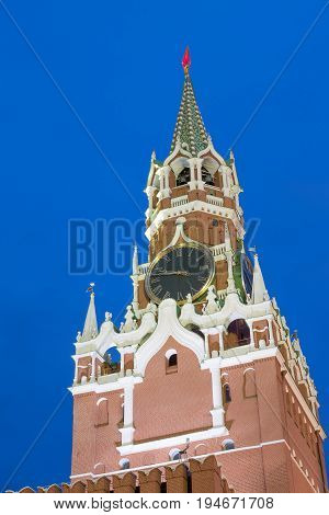 Spasskaya Tower Of Kremlin On Red Square In Moscow Russia. Blue hour sunset view.
