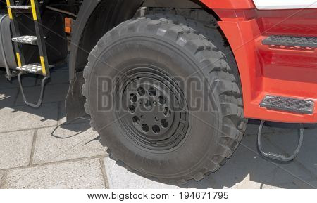 Wheel in Fire truck - big red fire fighting vehicle