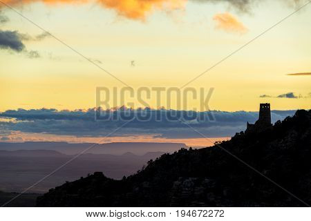 Desert Watchtower Silhouette