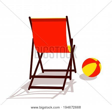 vector deck chair and beach ball isolated on white background