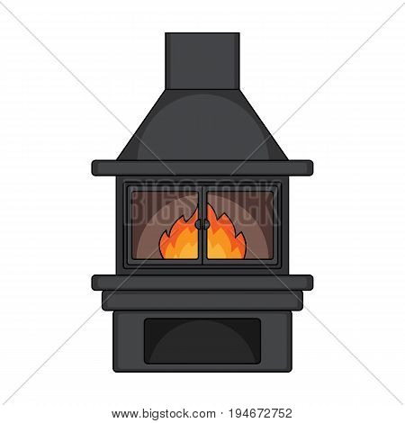 Fire, warmth and comfort. Fireplace single icon in cartoon style vector symbol stock illustration .