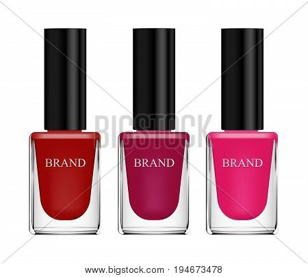Set Of Cosmetics, Nail Polish, Red, Pink And Purple, Glass Bottle On A White Background. 3D Vector R
