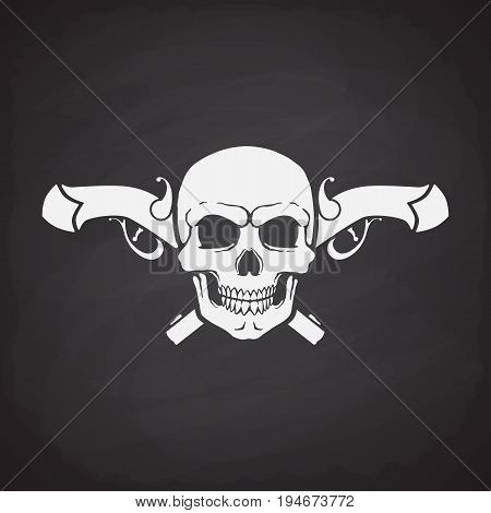 Silhouette of skull Jolly Roger with crossed pistols at the behind on blackboard background. Vector illustration. Danger and warning sign. Symbol on the flag of pirates