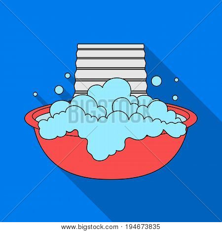 Bowl for washing. Dry cleaning single icon in flat style vector symbol stock illustration .