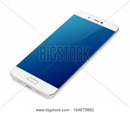 Modern white smartphone with blue screen lying isolated on white background. Smart phone with clipping path