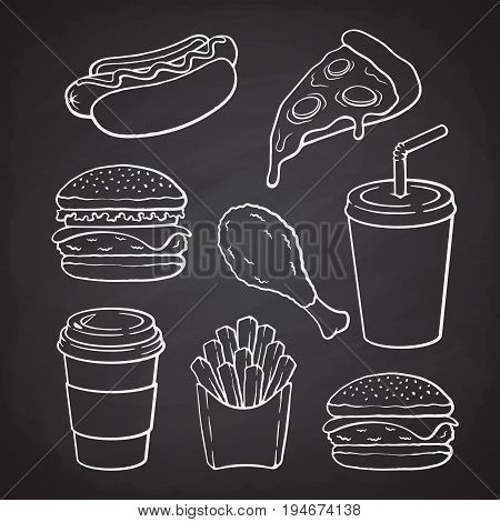 Hand drawn doodles of hamburger, hot dog, pizza, cheeseburger, deep-fried chicken leg, french fries, paper cup with soda, coffee. Vector illustration set. Fast food collection for menus, showcases