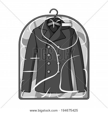 Clean clothes in the cover. Dry cleaning single icon in outline style vector symbol stock illustration .