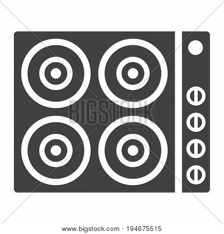 electric hot plate glyph icon, electrical stove and appliance, vector graphics, a solid pattern on a white background, eps 10.