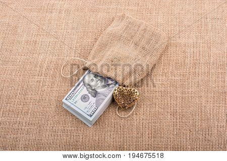 Bundle Of Us Dollar And A Heart Shape