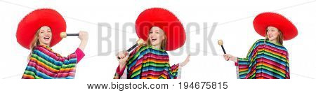 Pretty girl in mexican poncho singing isolated on white