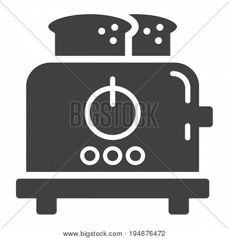 Toaster solid icon, kitchen and appliance, vector graphics, a glyph pattern on a white background, eps 10.