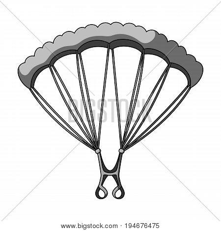 Parachuting.Extreme sport single icon in monochrome style vector symbol stock illustration .