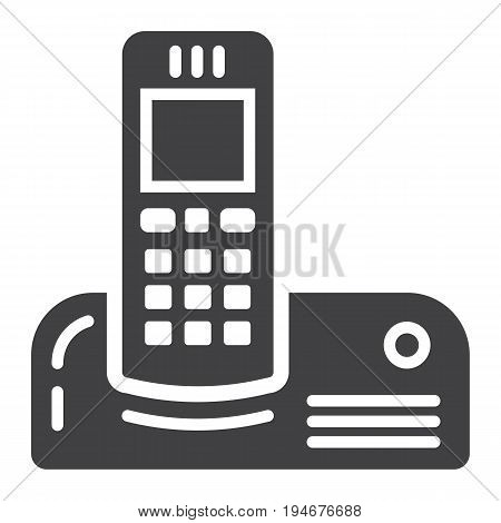 Wireless telephone solid icon, household and appliance, vector graphics, a filled pattern on a white background, eps 10.