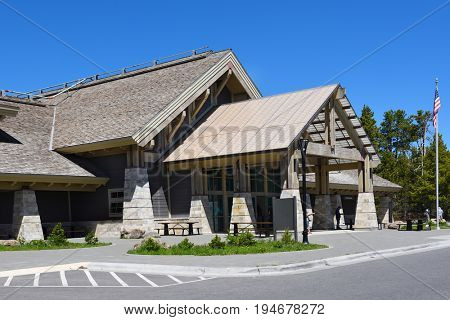 YELLOWSTONE NATIONAL PARK, WYOMING - JUNE 25, 21017: Grant Village Registration Building. Located on the southwestern shore of Yellowstone Lake, and named in honor of  Ulysses S. Grant.