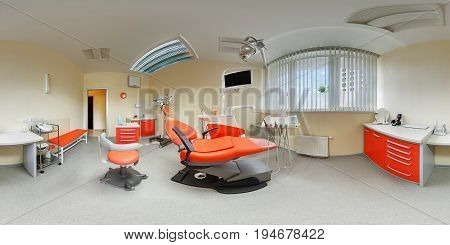 Equidistant spherical projection interior inside dental office beige and orange colours panorama view of modern fashionable european dental clinic with dentist chair armchair 360 lense degrees
