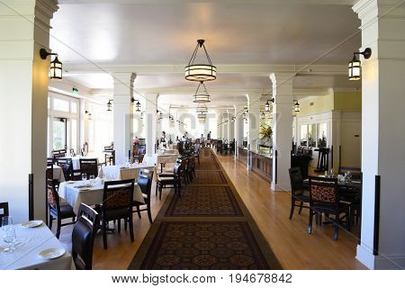 YELLOWSTONE NATIONAL PARK, WYOMING - JUNE 25, 21017: The Lake Hotel Dining Room. The oldest and finest accommodation in the park is celebrating its 125th anniversary.