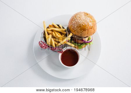 High angle view of burger by french fries in container with tomato sauce on plate against white backgroun