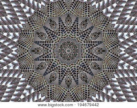 Gray white kaleidoscope pattern abstract background. Circle pattern. Abstract fractal kaleidoscope background. Abstract fractal pattern geometrical symmetrical ornament. Kaleidoscope gray pattern