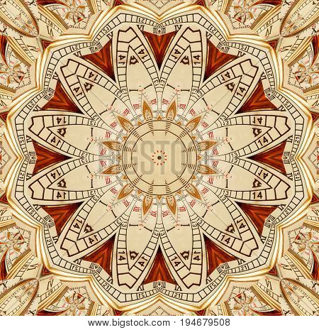 Antique old golden clock kaleidoscope pattern abstract background. Abstract surreal clock pattern kaleidoscope Golden watch pattern background texture. Abstract clock pattern Abstract clock face