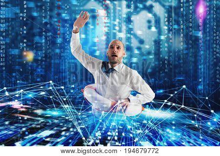 Businessman with lifebelt needs help to surf the internet. Internet exploration problem concept