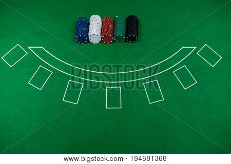 High angle view of chips on blackjack table at casino